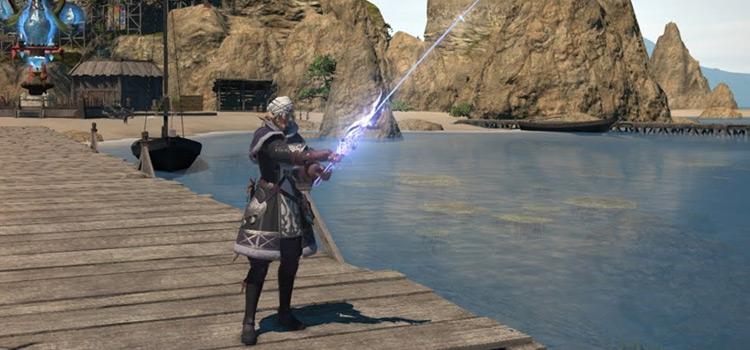 Fisherman on the docks in Final Fantasy XIV