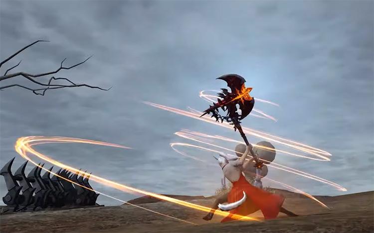 Warrior Steel Cyclone attack in FFXIV