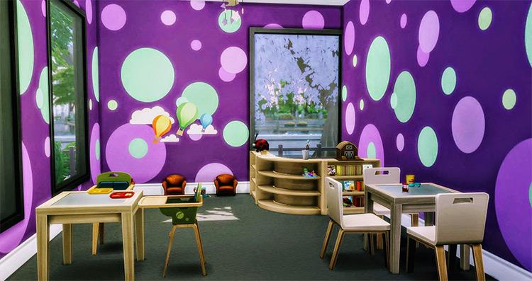 Pixxel Shack Daycare Center / Sims 4 CC
