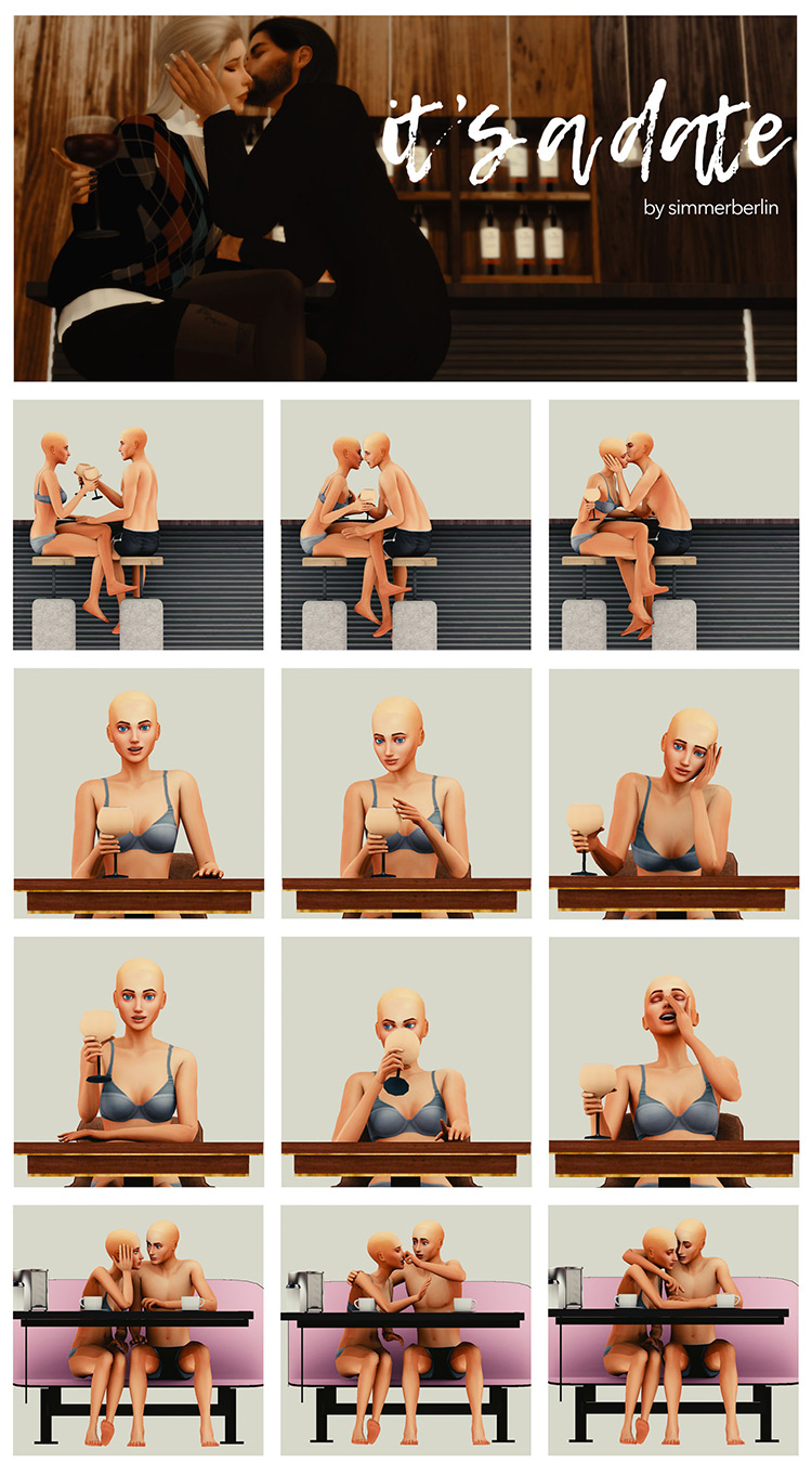 It's a Date Poses by simmerberlin / The Sims 4
