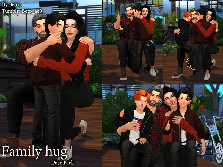 Family Hugs Pose Pack by Beto_ae0 / The Sims 4