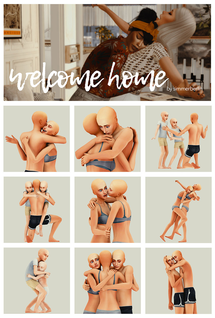 Welcome Home Poses by simmerberlin / The Sims 4