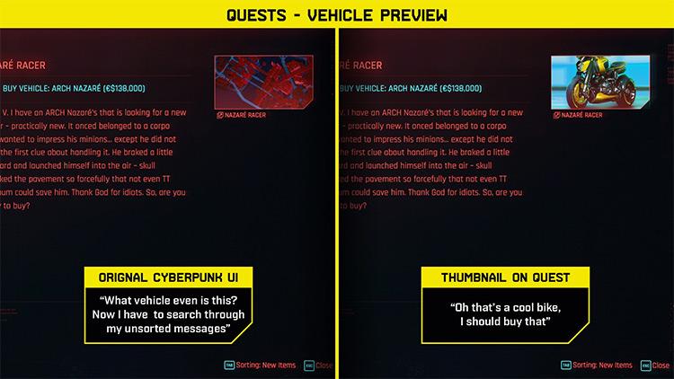 Flib's UI Improvements / Cyberpunk 2077 Mod