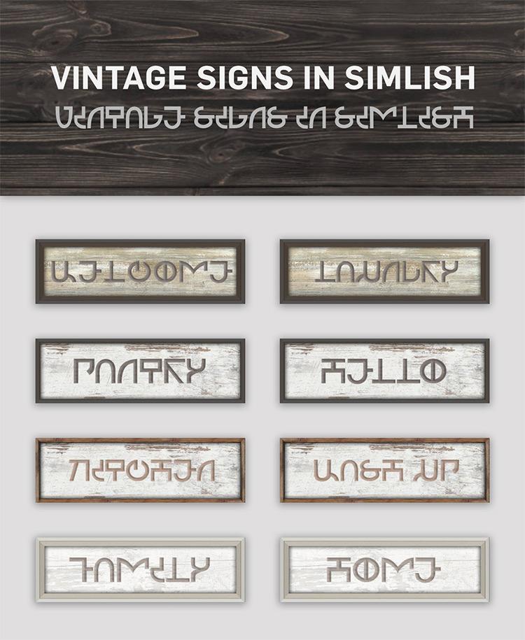 Vintage Simlish Signs / TS4 CC