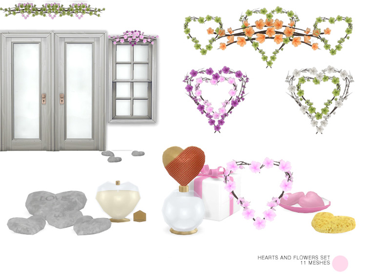 Heart and Flowers Set / Sims 4 CC