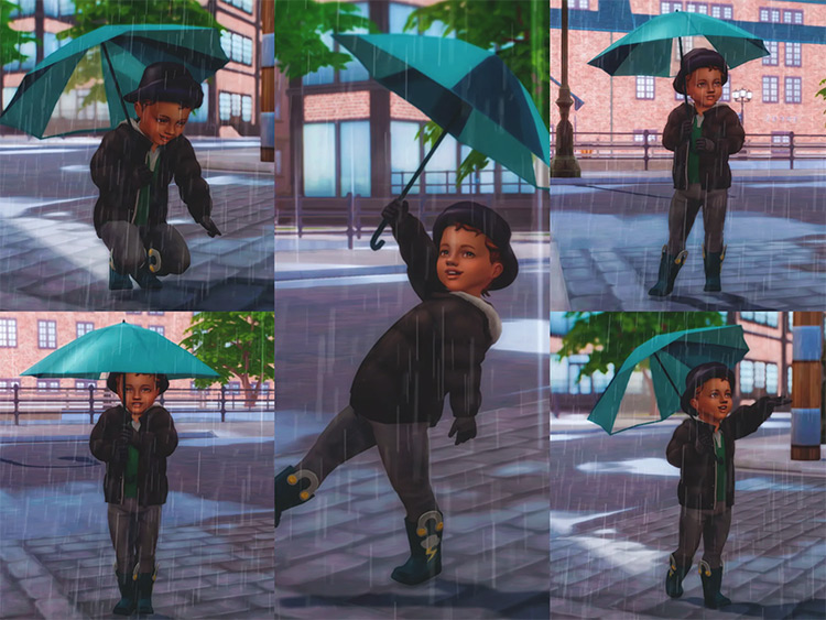 Umbrella Poses for Toddlers / Sims 4 CC