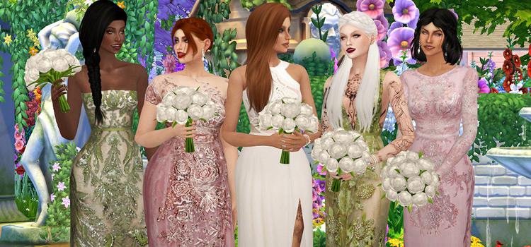 White Wedding Bridesmaids Pose Set / Sims 4 Preview