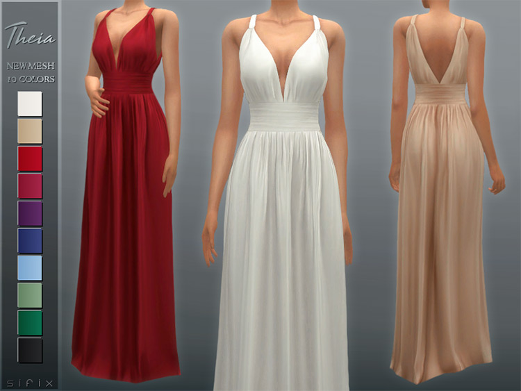 Theia Bridesmaid Dress for The Sims 4