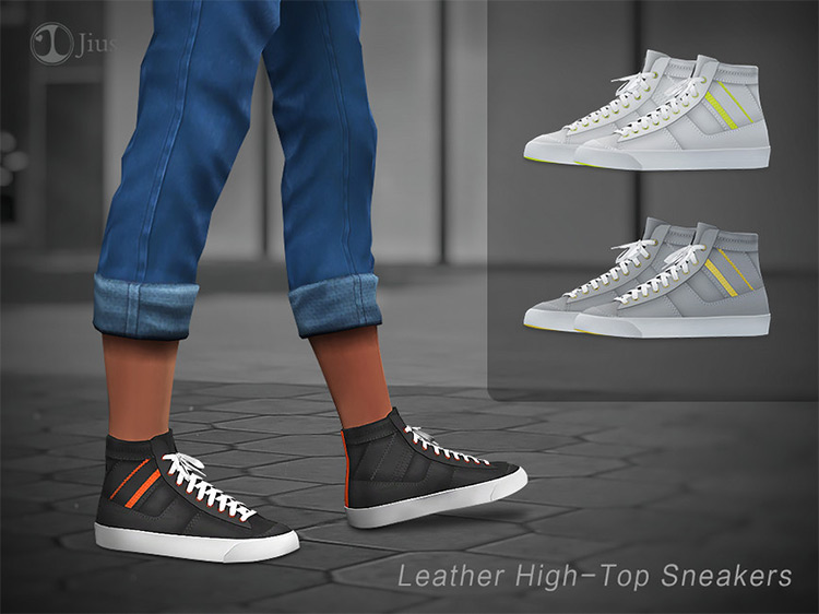 Leather High Top Sneakers / Sims 4 CC
