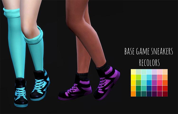 Base Game Sneakers Hi-Tops Recolors / Sims 4 CC