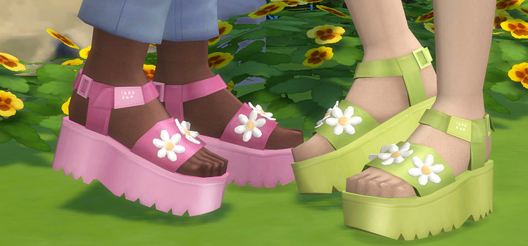 Pink & Green Platform Shoes for The Sims 4