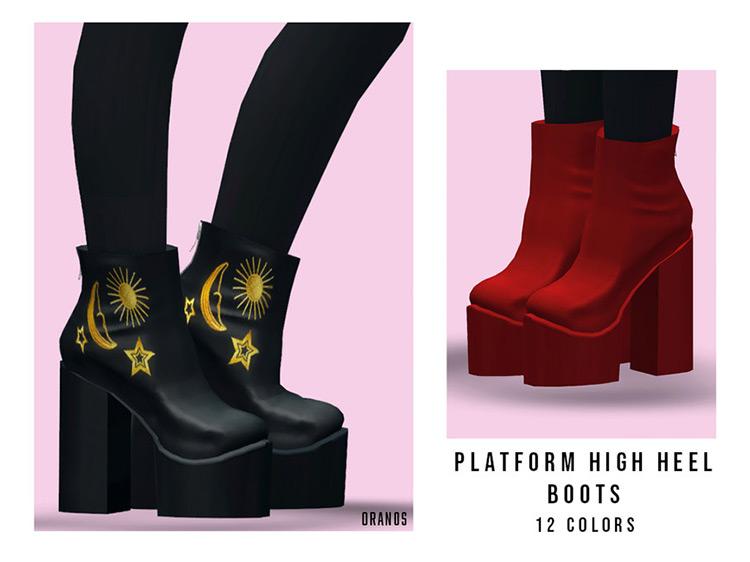Platform High Heel Boots / TS4 CC