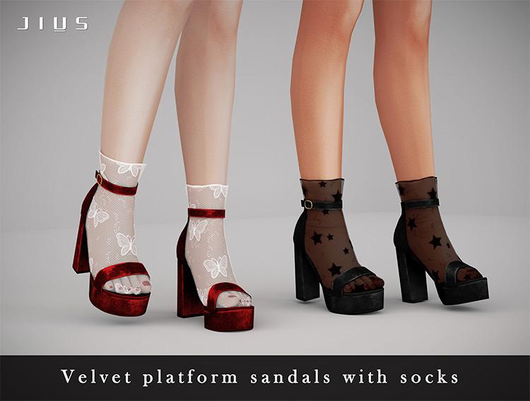 Velvet Platform Sandals with Socks / TS4 CC