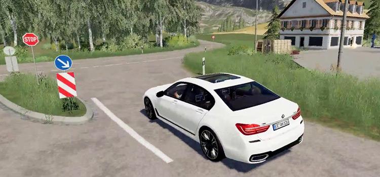 White BMW 7-Series Car in Farming Simulator 19