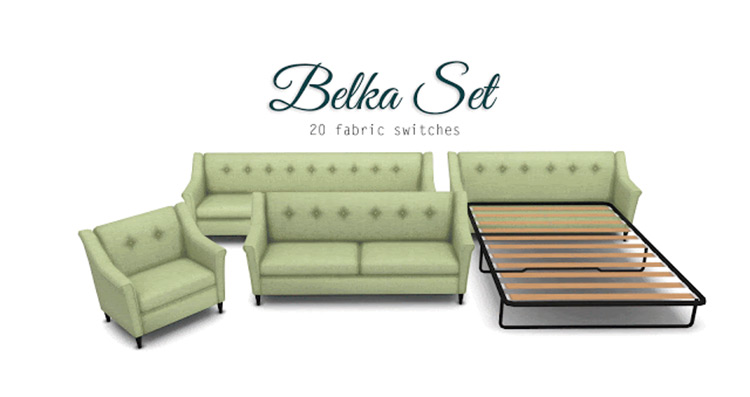 Comfort Zone Set with Pullout Couch / Sims 4 CC