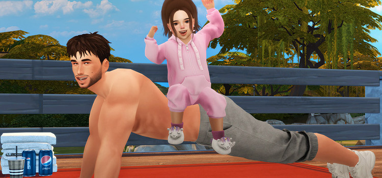 Father and daughter exercise pose in The Sims 4