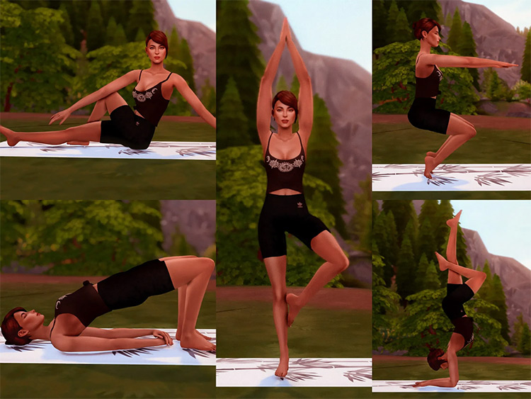 Hot Yoga Poses by katverse / The Sims 4
