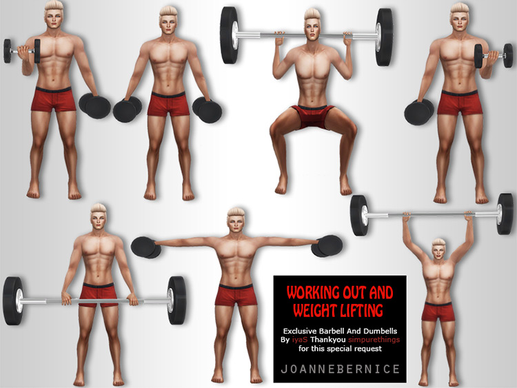 Weightlifting Poses by Joannebernice for The Sims 4
