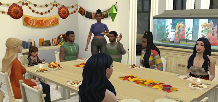 Sims 4 Thanksgiving/Harvestfest Dinner Table Screenshot