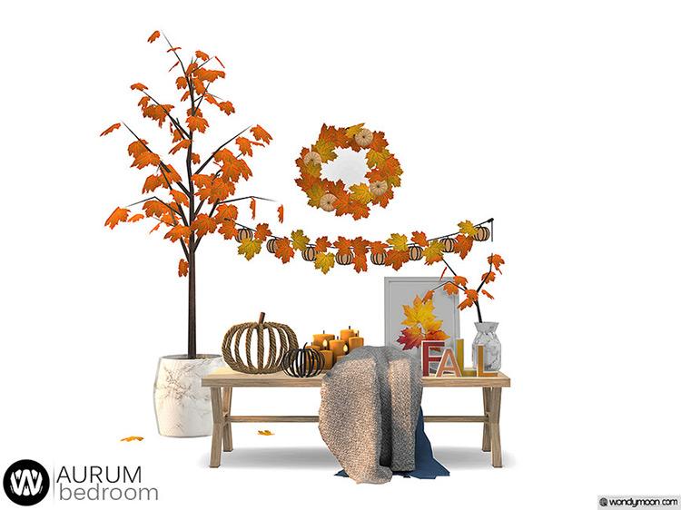 Aurum Autumn Bedroom Decorations Clutter / Sims 4 CC