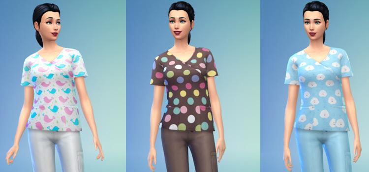 Female Nurse Scrubs CC Preview for The Sims 4