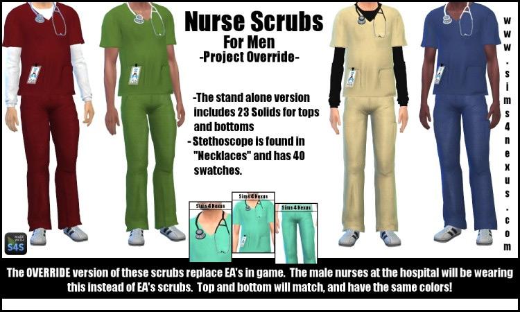 Nurse Scrubs for Men for The Sims 4