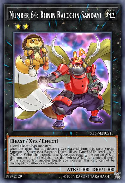 Number 64: Ronin Raccoon Sandayu YGO Card
