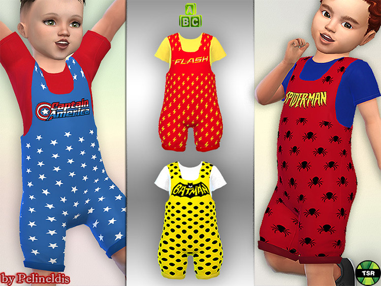 Superhero Dungaree for Toddlers for The Sims 4
