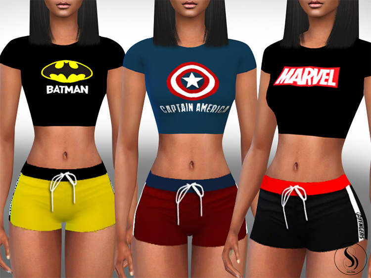 Comicbook Athletic & Sleeping Outfits / Sims 4 CC