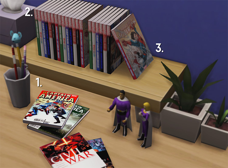Readable Marvel Comics & Decor / Sims 4 CC
