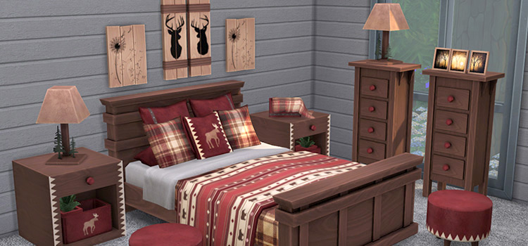 Forest Fantasy Log Cabin Bedroom CC for The Sims 4