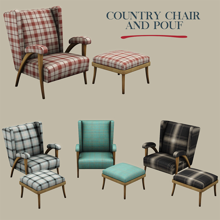 Country Chair and Pouf / Sims 4 CC