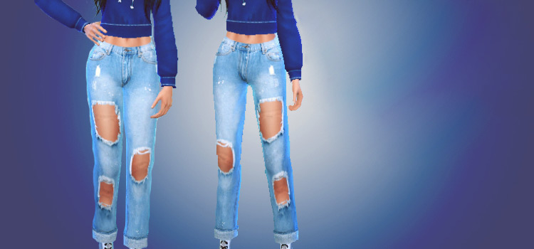 Ripped boyfriend jeans for females / Sims 4 CC Preview