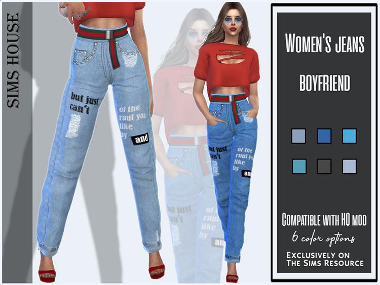 Women's Boyfriend Jeans with Inscriptions / TS4 CC