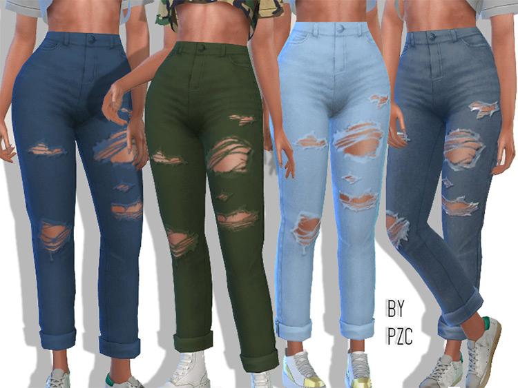High-Waisted Ripped Boyfriend Jeans / Sims 4 CC