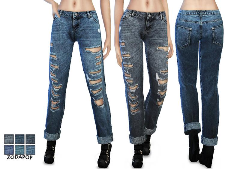 Mid-wash Boyfriend Jeans / TS4 CC