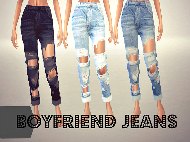 Destroyed Boyfriend Jeans for The Sims 4