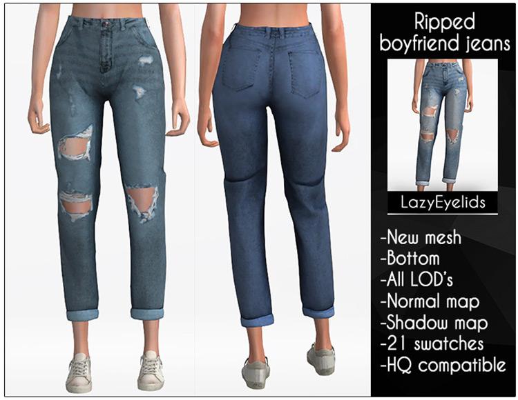 Ripped Boyfriend Jeans (detailed) TS4 CC