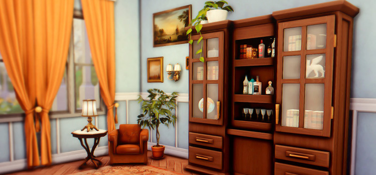 Antique old-timey hutch CC for The Sims 4 (Maxis Match)