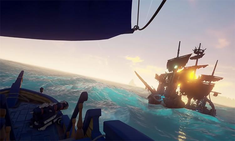 Skeleton Ship Battle Screenshot / Sea of Thieves