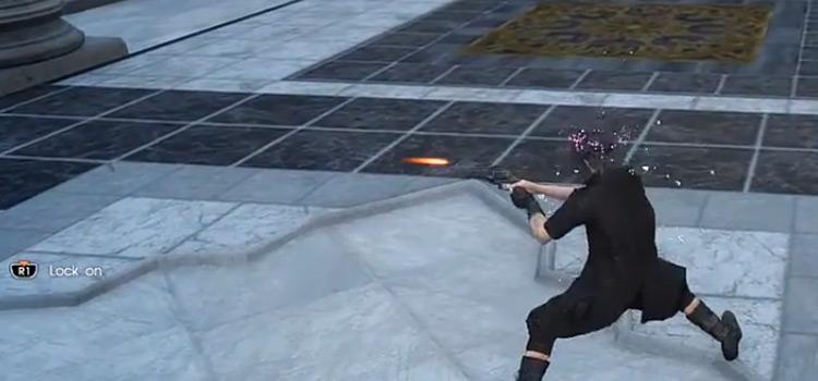 Firearm battle screenshot from Final Fantasy XV