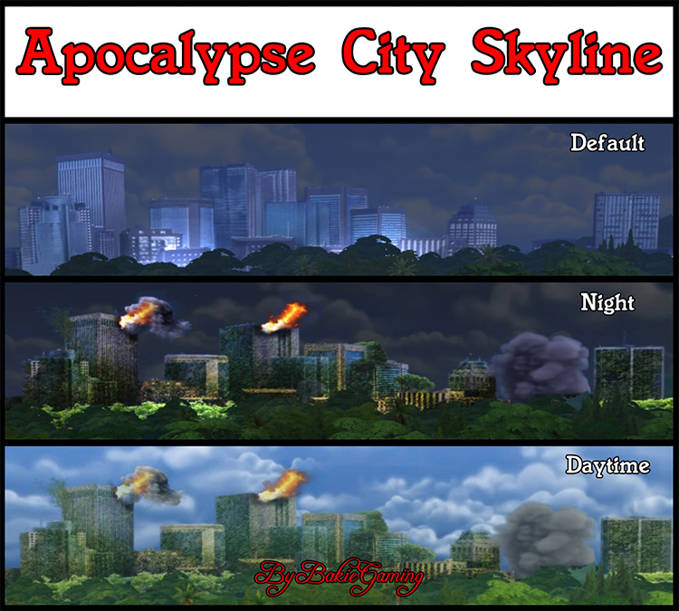 Apocalypse City Backdrop Replacement for The Sims 4