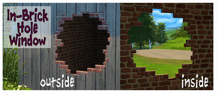 In-Brick Hole Window & Old Roof Tiles / Sims 4 CC