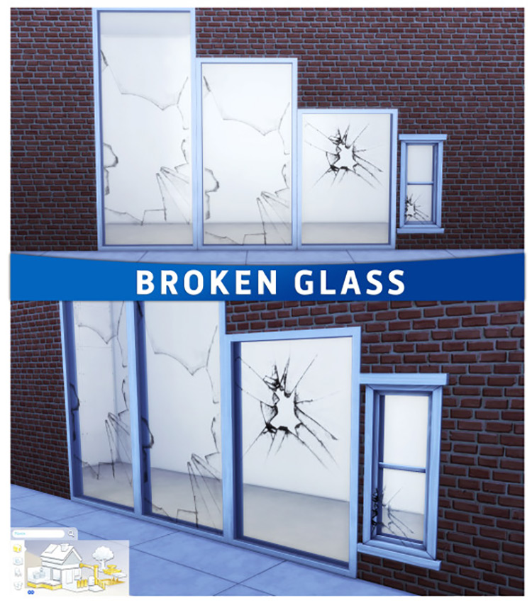 Broken Glass Windows for The Sims 4