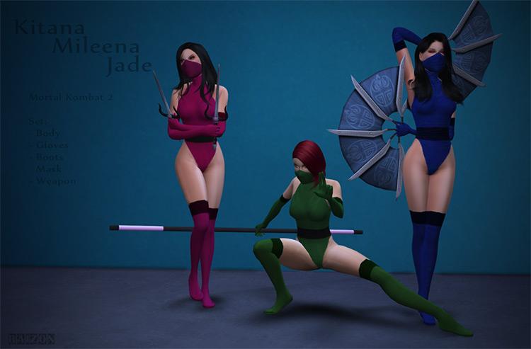Kitana Mileena & Jade MK2 Set / TS4 CC