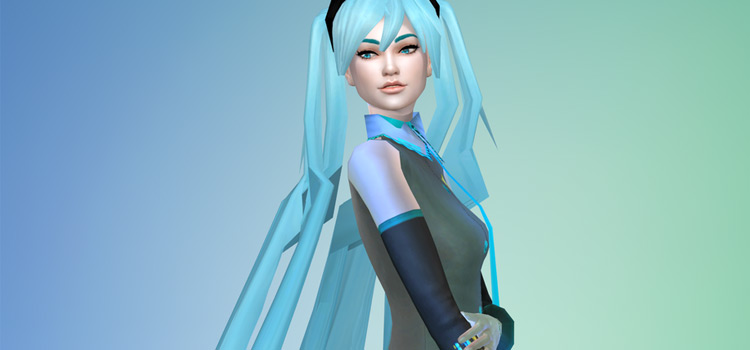 Vocaloid Miku Build in The Sims 4 CAS