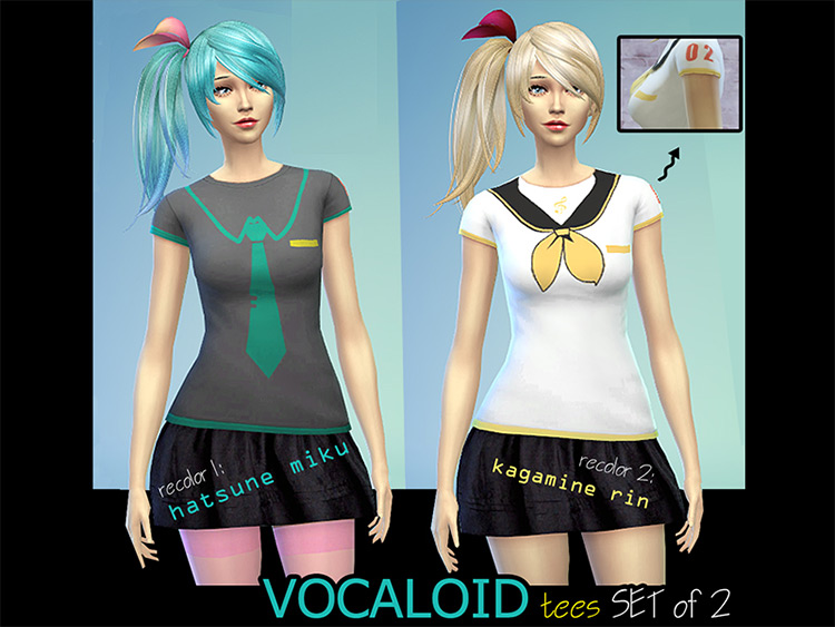 Casual Vocaloid Tees for The Sims 4