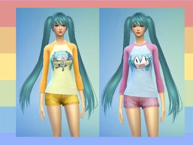 Simple Miku Long-Sleeve Tees / Sims 4 CC
