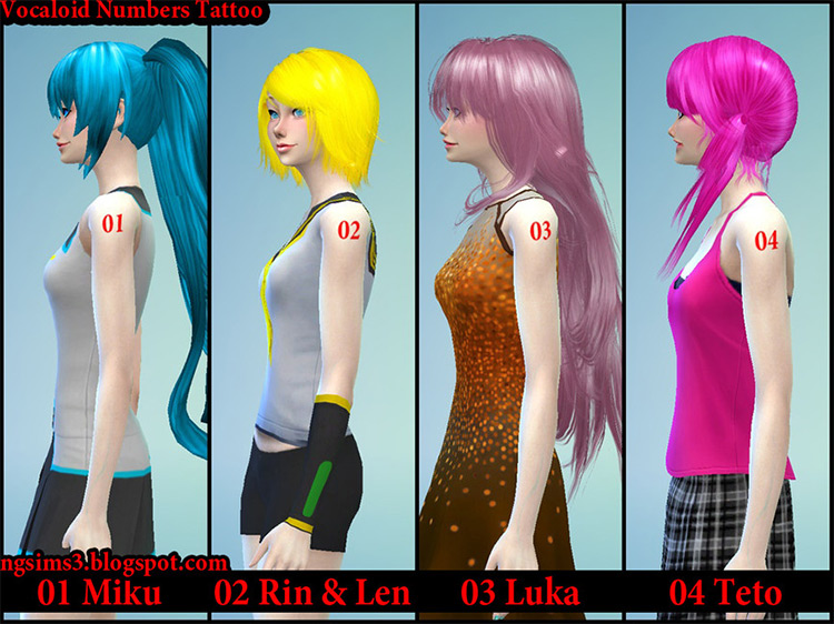 Numbers Tattoo / Sims 4 CC