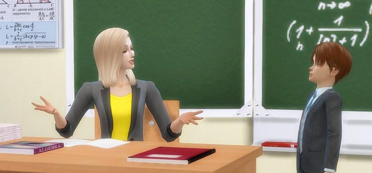Sims 4 blonde teacher and student screenshot